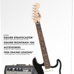Fender® Squier® Short Scale Stratocaster™ Guitar Pack in Black Finish