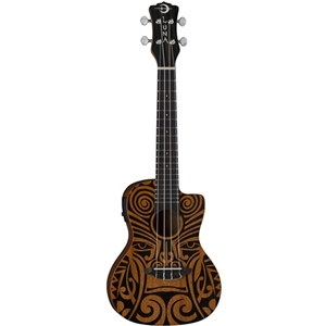 Luna Tribal Concert Cutaway Ukulele with Electronics