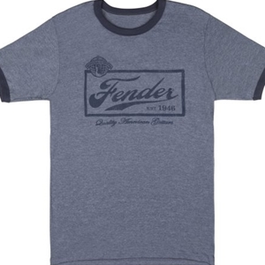 Fender® Beer Label Mens Shirt, Blue- Large